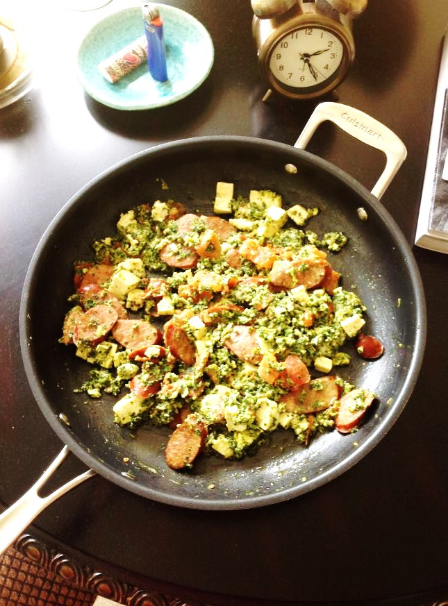 Andouille, Kale and Tofu (Photo by Aileen Torres)