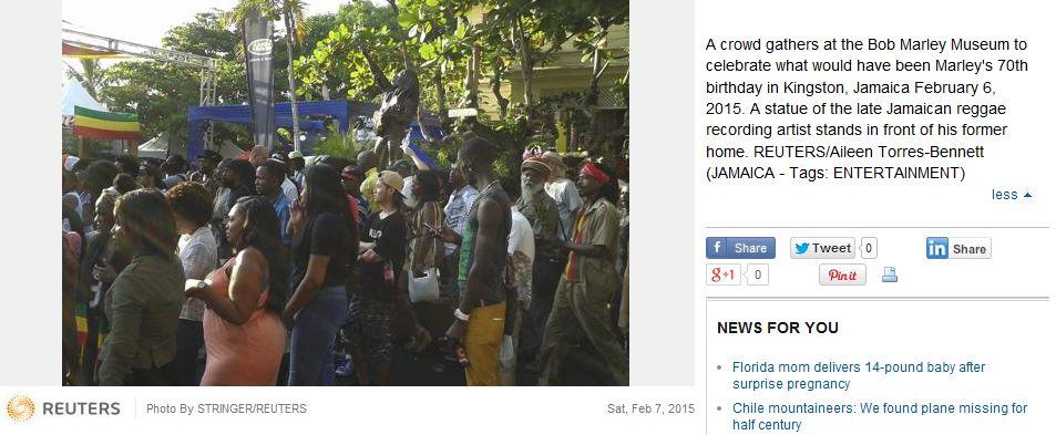 Reuters_Bob Marley 70th birthday bash