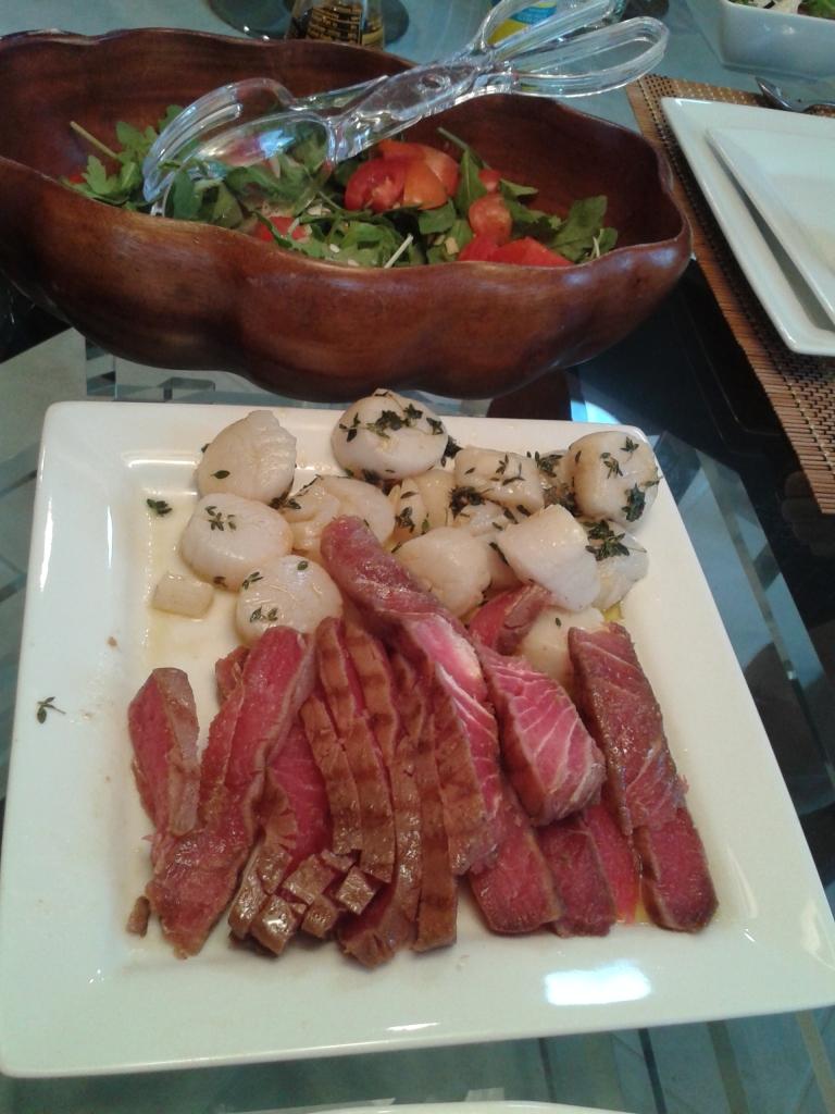 scallops and seared tuna