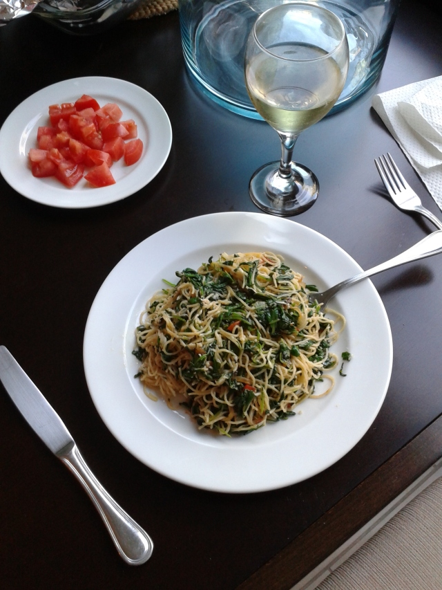 Capellini with parmesan and arugula
