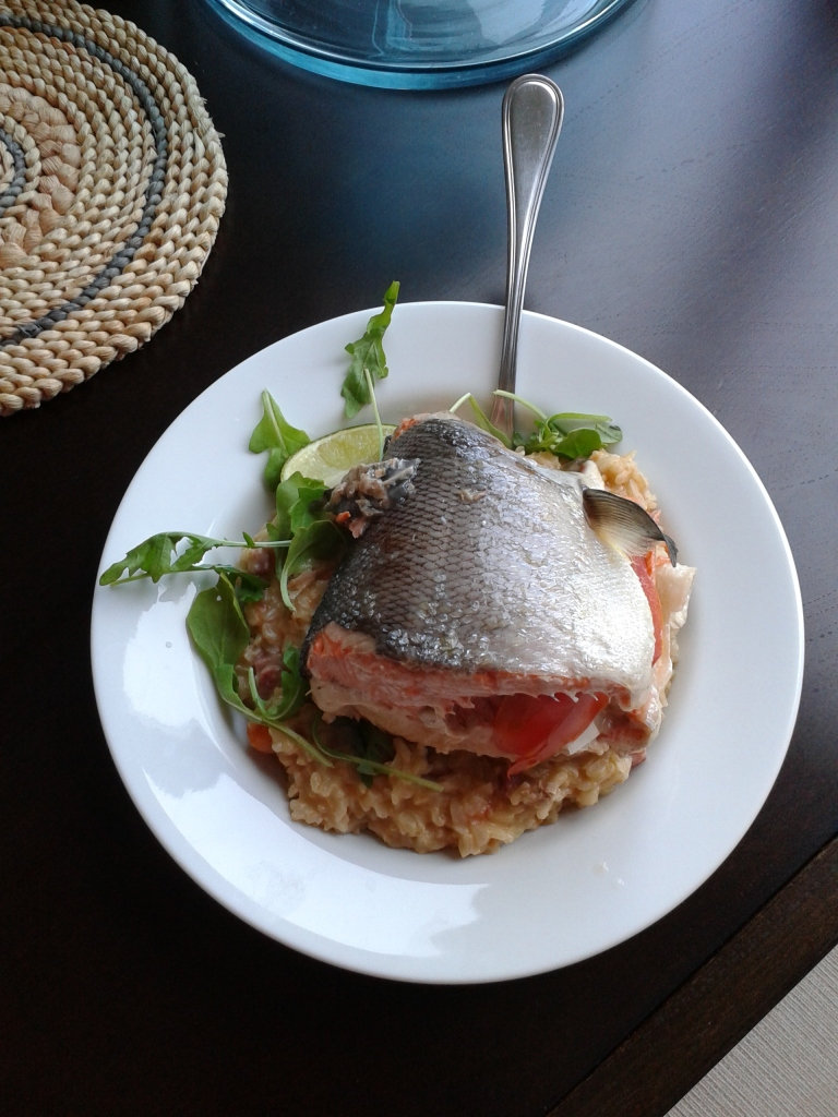 Salmon on a bed of rice