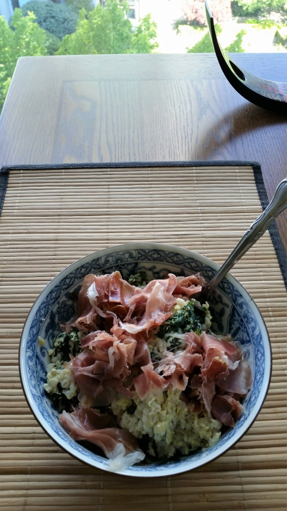 Bulgur with proscuitto and kale