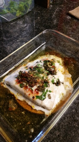 Baked lingcod
