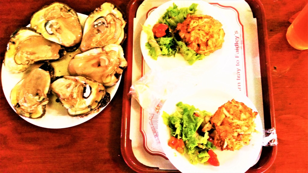 Faidleys crab cakes and oysters