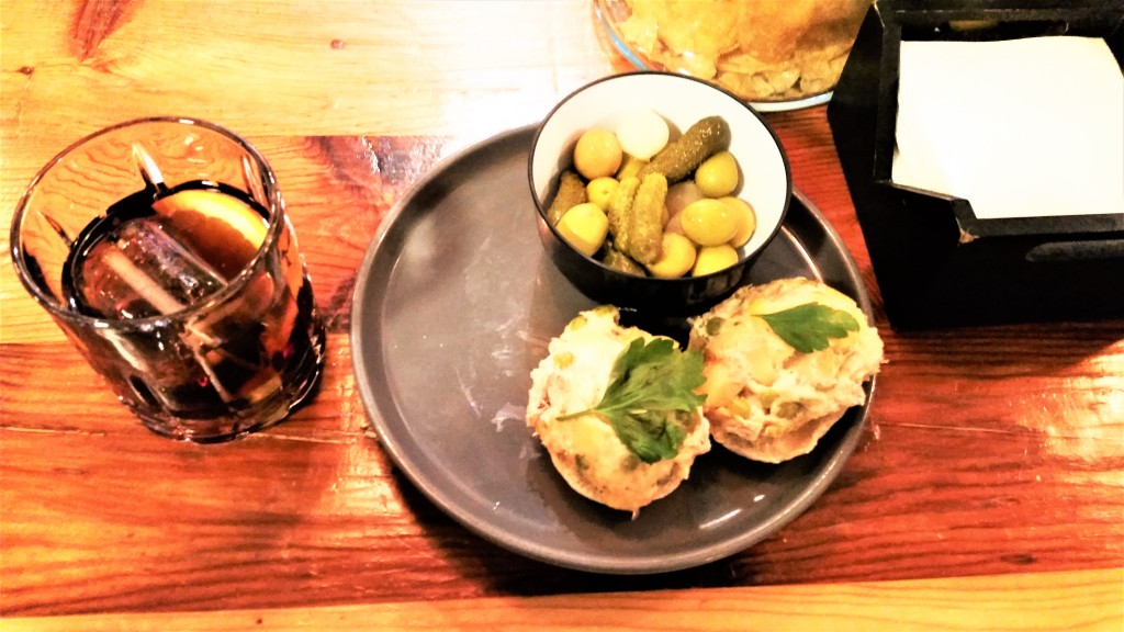 Vermouth and tapas at Flora bar in Toledo, Spain