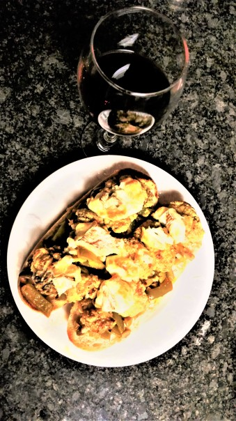 Fried oyster tostas