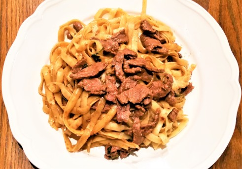 Beef with soy sauce noodles