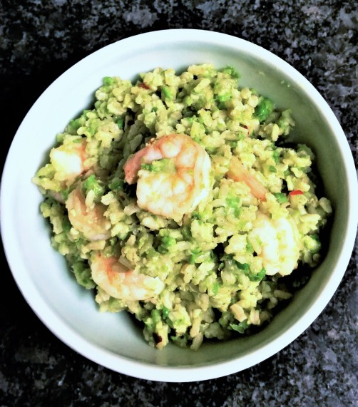 Shrimp and green pea rice