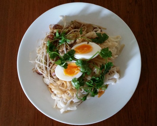 Rice noodles with sausage bean sprouts egg