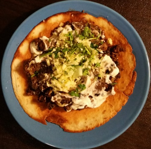 beef and bean tostada