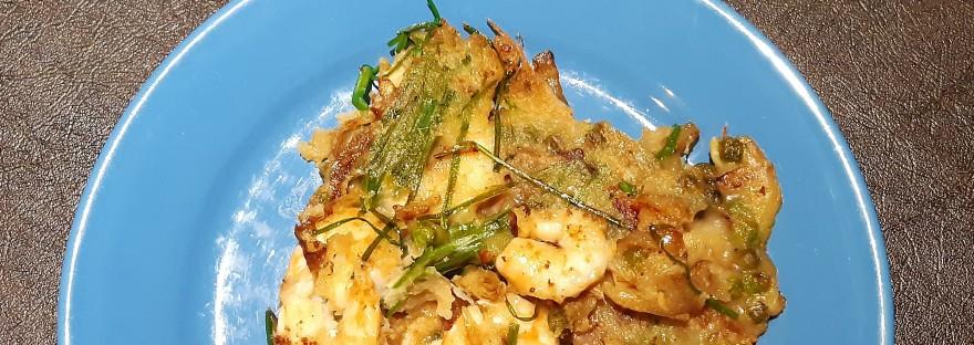 Okonomiyaki shrimp chives onion