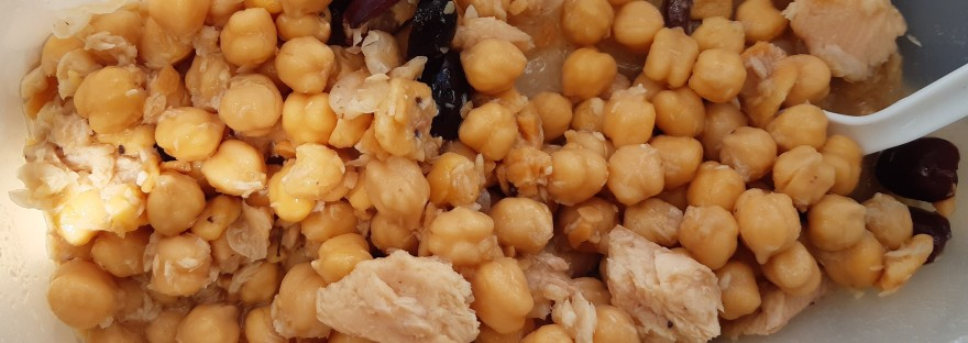 chick pea and smoked trout salad