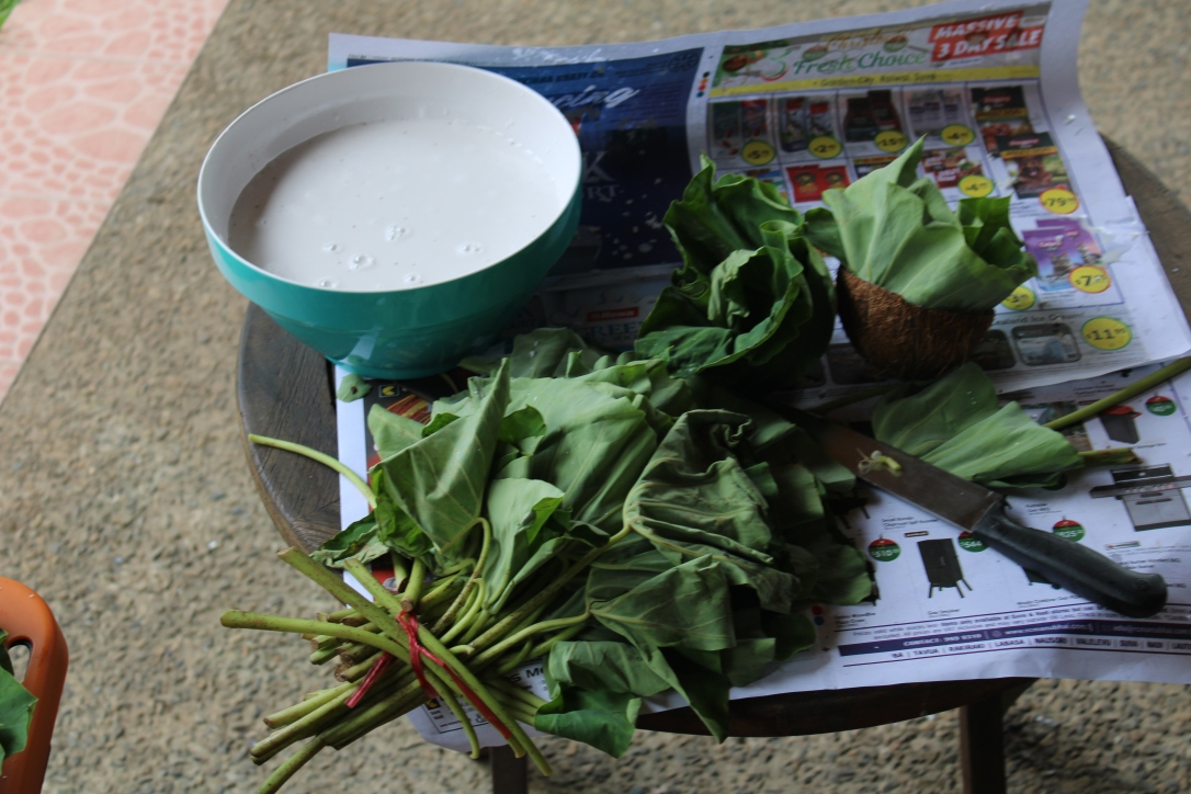 Fresh coconut milk and rourou for palusami.