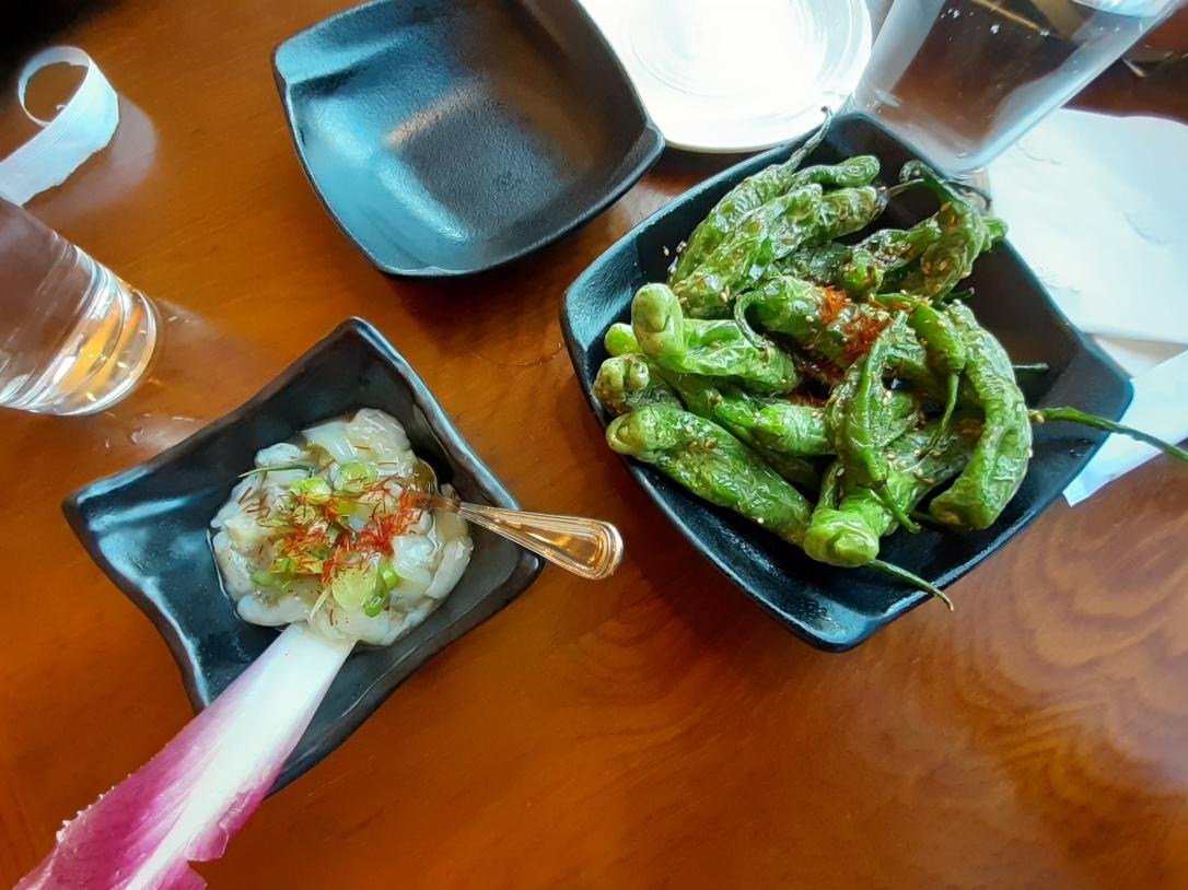 marinated raw octopus and shishito peppers Hinodeya Ramen San Francisco