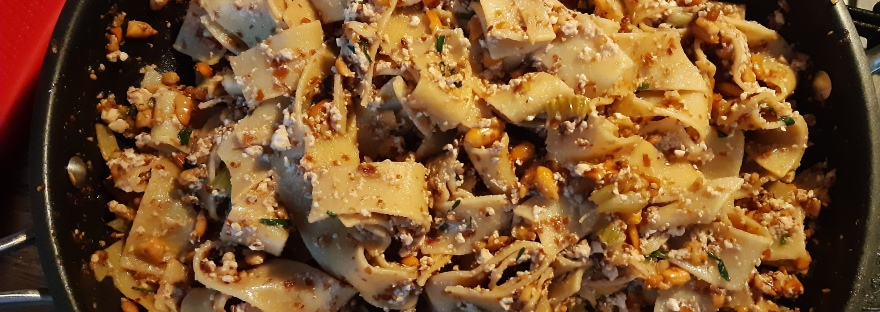 pappardelle tofu crushed peanuts