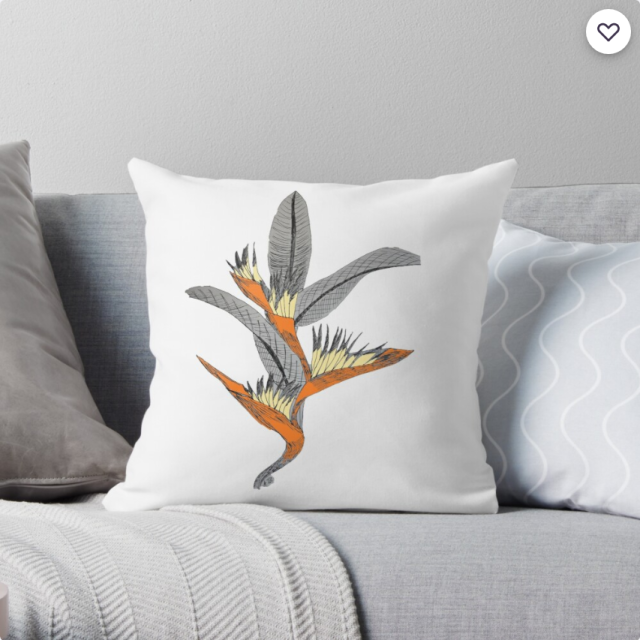 Bird of Paradise Throw Pillow by ATBdesignart