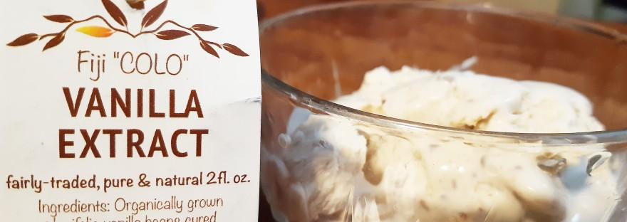 homemade ice cream with Fiji vanilla