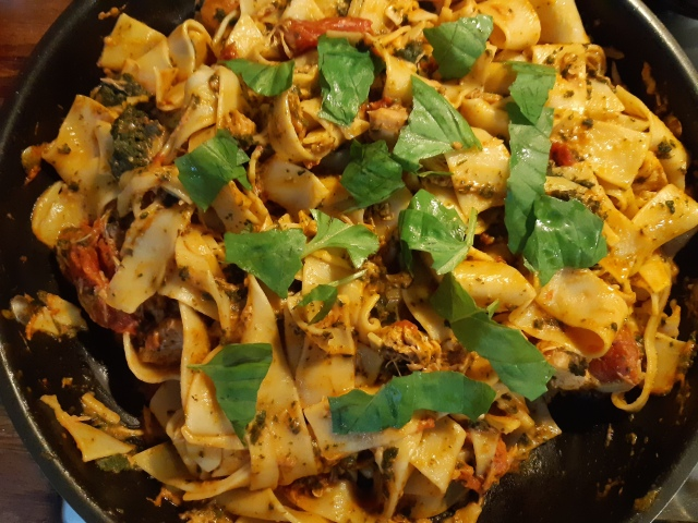 pappardelle with Fijian chicken lovo