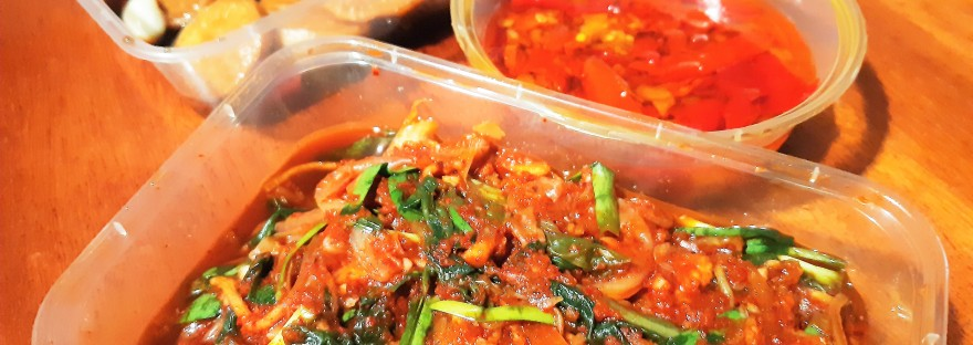 Ous Treat Fiji kimchi pickled daikon chiles marinading in oil