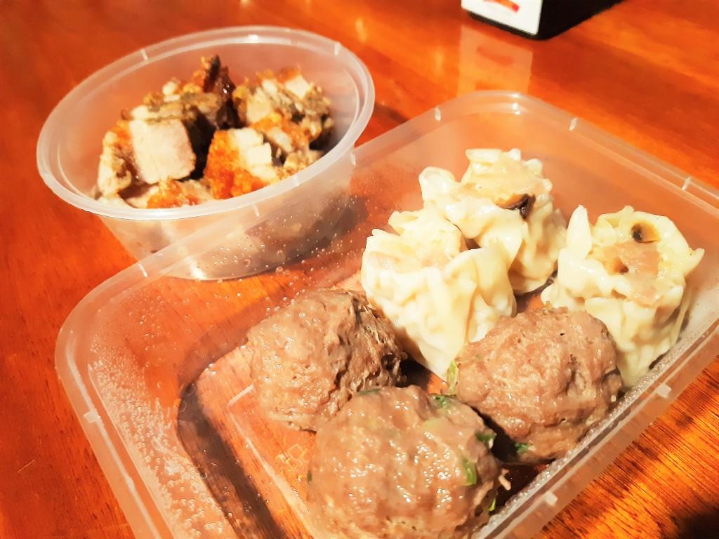 Ous Treat meatballs chicken dumplings roast pork